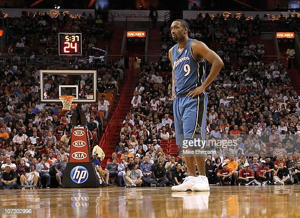 Gilbert Arenas of the Washington Wizards looks on during a game against the Miami Heat at American Airlines Arena on November 29 2010 in Miami...
