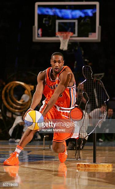 Gilbert Arenas of the Washington Wizards moves the ball in the PlayStation Skills Challenge part of 2005 NBA AllStar Weekend at Pepsi Center on...
