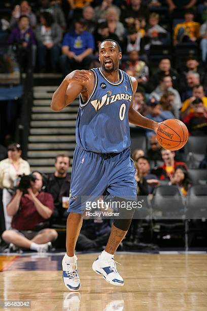 Gilbert Arenas of the Washington Wizards moves the ball up court during the game against the Golden State Warriors on December 18 2009 at Oracle...