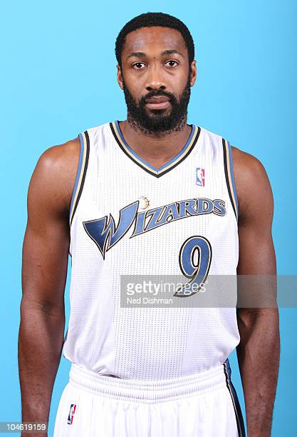 Gilbert Arenas of the Washington Wizards poses for a portrait during 2010 NBA Media Day at the Verizon Center on September 27 2010 in Washington DC...