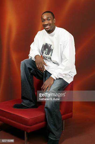 Gilbert Arenas of the Washington Wizards poses for a portrait during the 2005 NBA AllStar Media Availability on February 18 2005 at The Westin Hotel...