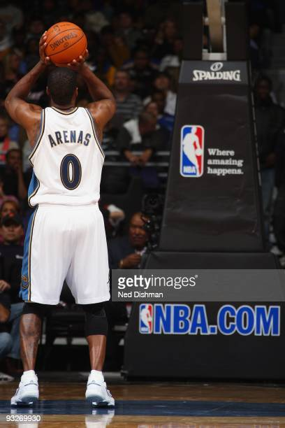 Gilbert Arenas of the Washington Wizards shoots a free throw during the game against the Miami Heat at the Verizon Center on November 4 2009 in...