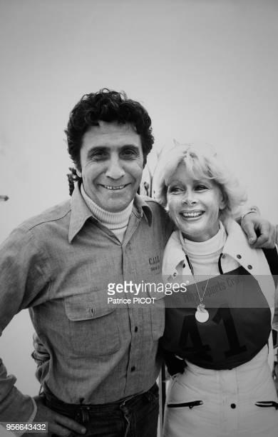 Gilbert Bécaud et Jacqueline Huet au Grand Prix de Ski des Artistes à Avoriaz le 11 janvier 1977 France