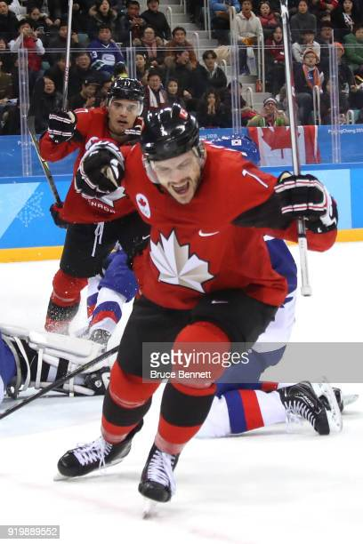 Gilbert Brule of Canada celebrates after scoring a goal against Matt Dalton of Korea in the third period during the Men's Ice Hockey Preliminary...