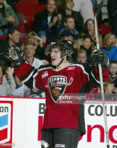 Gilbert Brule of the Vancouver Giants celebrates during the Western Hockey League game against the Saskatoon Blades at Pacific Coliseum on October...