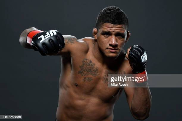 Gilbert Burns of Brazil poses for a portrait backstage after his victory over Aleksei Kunchenko during the UFC Fight Night event at Antel Arena on...
