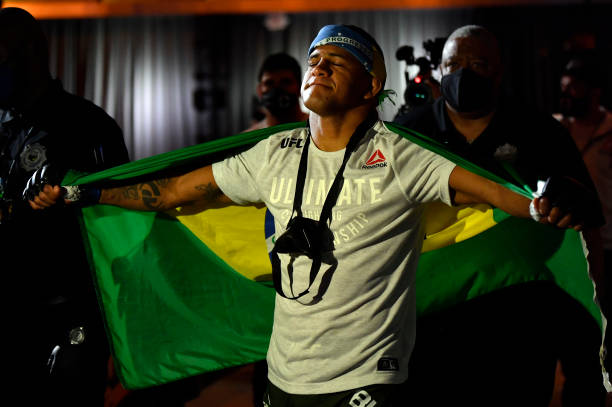 Gilbert Burns of Brazil prepares to fight Kamaru Usman of Nigeria in their UFC welterweight championship fight during the UFC 258 event at UFC APEX...