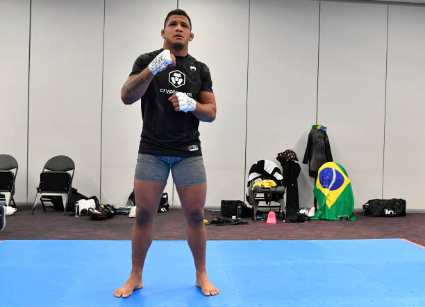 Gilbert Burns of Brazil warms up prior to his fight during the UFC 264 event at T-Mobile Arena on July 10, 2021 in Las Vegas, Nevada.