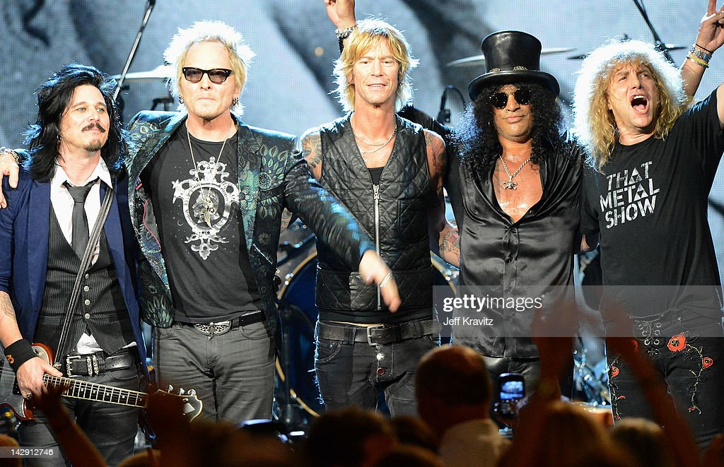 Gilbert Clarke, Matt Sorum, Duff McKagan, Slash and Steven Adler of Guns N' Roses perform on stage at the 27th Annual Rock And Roll Hall Of Fame Induction Ceremony at Public Hall on April 14, 2012 in Cleveland, Ohio.