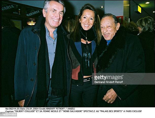Gilbert Coullier and his wife Nicole and Henri Salvador show at the Palais Des Sports in Paris