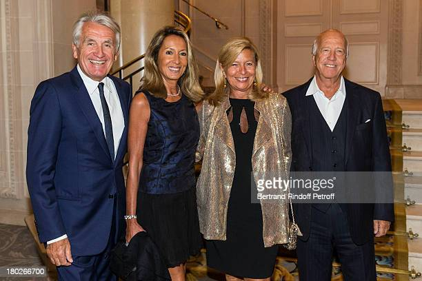 Gilbert Coullier his wife Nicole Corinne Bouygues and her husband Sergio Gobbi attend a charity dinner hosted by the Claude Pompidou foundation at...