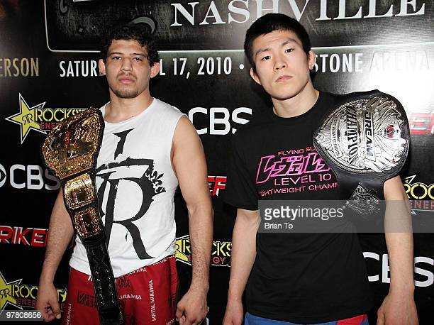 Gilbert ''El Nino'' Melendez and Shinya ''Tobikan Judan'' Aoki attend ''StrikeForce'' MMA fighters at the open media workout at the Legends MMA...