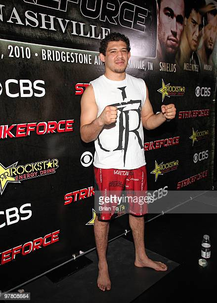Gilbert ''El Nino'' Melendez attends ''StrikeForce'' MMA fighters at the open media workout at the Legends MMA Training Center on March 17, 2010 in...