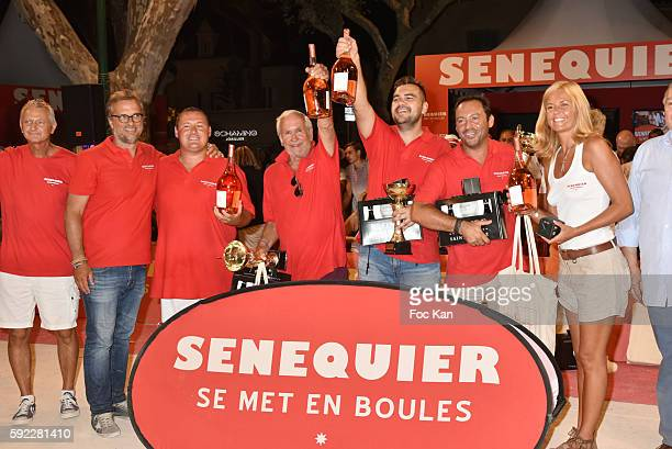 Gilbert Fasola president of La Boule Tropezienne president Thierry Bourdoncle from Senequier petanque champion Kevin Malbec TV presenter Patrice...
