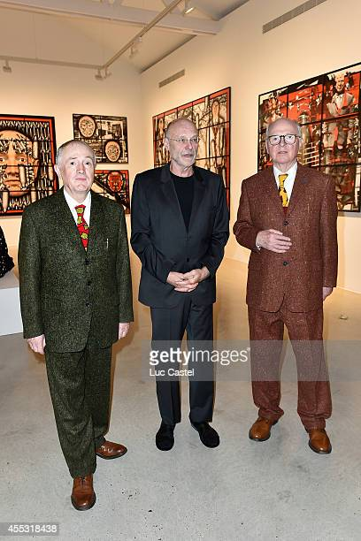 Gilbert George and Anselm Kiefer attend the 'Gilbert George' Press Preview at Galerie Thaddaeus Ropac in Patin on September 12 2014 in Paris France