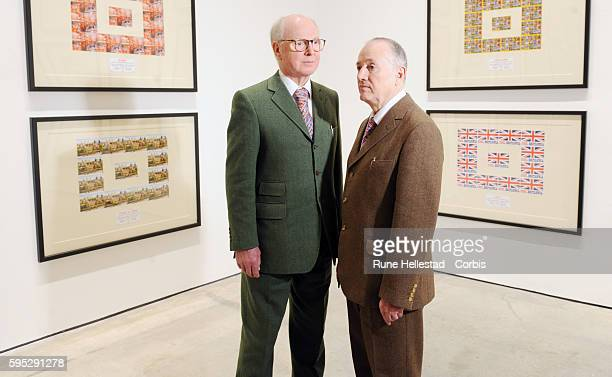 Gilbert George attends a photo call for their exhibition The Urethra Postcard Art at White Cube