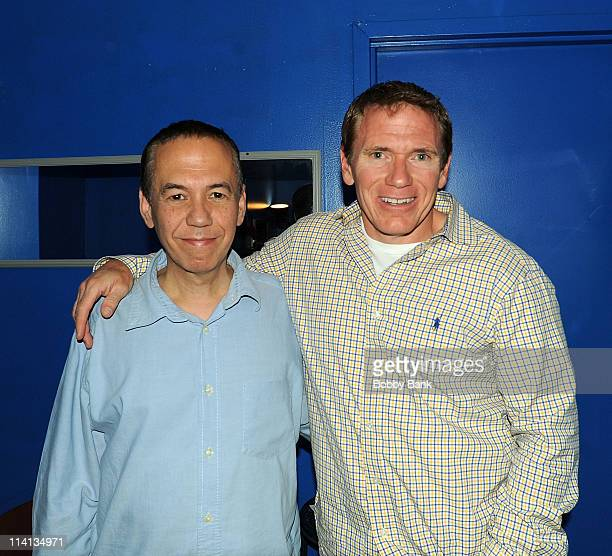 Gilbert Gottfried and Vinnie Brand backstage at The Stress Factory Comedy Club on May 12, 2011 in New Brunswick, New Jersey.