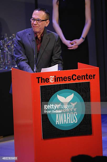 Gilbert Gottfried speaks onstage at the 6th Annual Shorty Awards on April 7 2014 at The Times Center in New York City