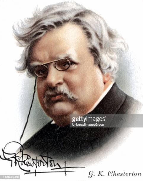 Gilbert Keith Chesterton English novelist poet and critic Friend of Belloc Roman Catholic convert Creator of fictional detective Father Brown Card...