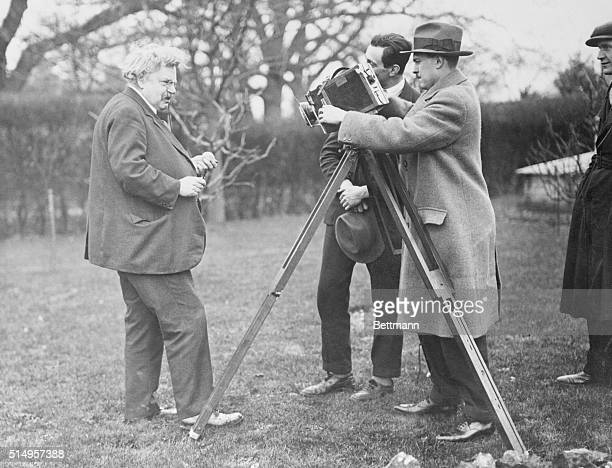 Gilbert Keith Chesterton the author was filmed at his residence in England by Widgey Newman for his film series of British Celebrities Secrets of...