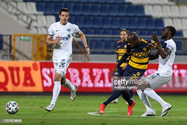 Gilbert Koomson of Kasimpasa in action against Hermenegildo of MKE Ankaragucu during the Turkish Super Lig week 41 match between Kasimpasa and MKE...