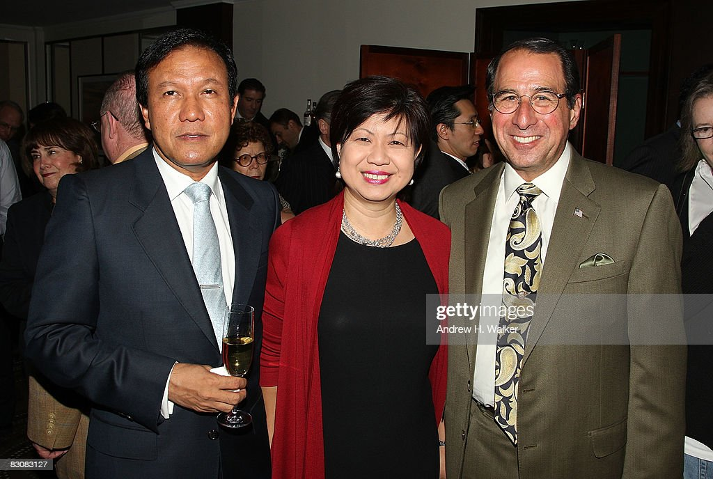 Gilbert Madhavan, President of Raffle Hotels & Resorts Diana Ee Tan and Edward Salzano attend the Raffles Hotels & Resorts and Elite Traveler Celebration of the Latest in Luxury Travel on October 1, 2008 at Daniel in New York City.