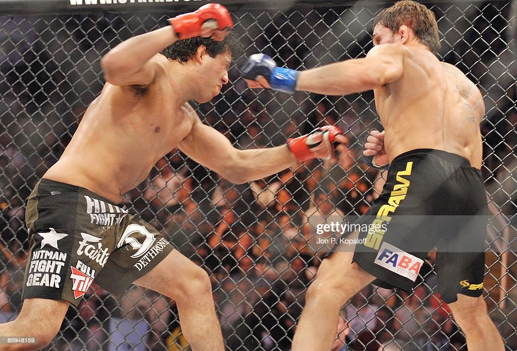 Gilbert Melendez (L) battles Rodrigo Damm at Strikeforce: Shamrock vs. Diaz at HP Pavilion on April 11, 2009 in San Jose, California.