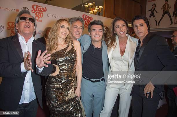 Gilbert Montagne Jeanne Mas JeanPierre Savelli Thomas Langmann Sabrina Salerno and JeanLuc Lahaye attend the 'Stars 80' Film Premiere at Le Grand Rex...