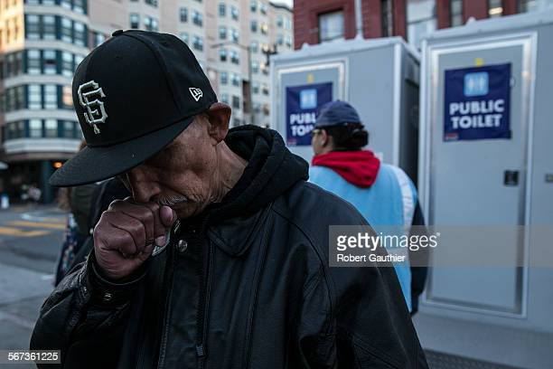 SAN FRANCISCO CA TUESDAY JANUARY 20 2015 Gilbert Palaiz is happy the city is providing portable toilets in the heart of the Tenderloin District...