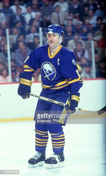 Gilbert Perreault of the Buffalo Sabres skates on the ice during an NHL game circa 1986