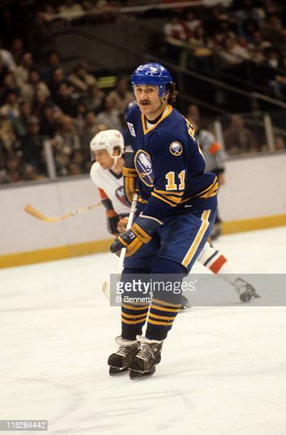Gilbert Perreault of the Buffalo Sabres skates on the ice during an NHL game against the New York Islanders on February 2 1980 at the Nassau Coliseum...