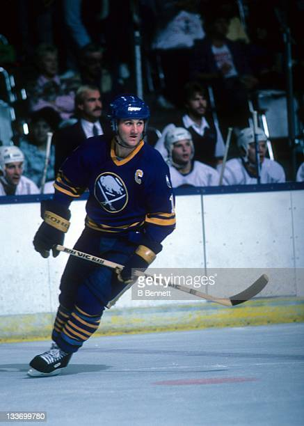 Gilbert Perreault of the Buffalo Sabres skates on the ice during an NHL preseason game against the New York Islanders in September 1986 at the Nassau...
