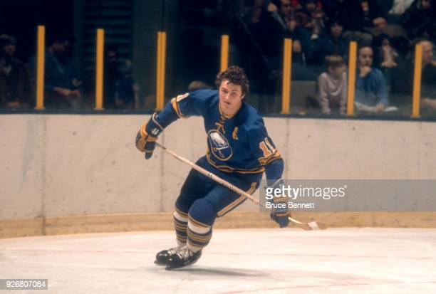 Gilbert Perreault of the Buffalo Sabres skates on the ice during an NHL game against the New York Rangers circa 1974 at the Madison Square Garden in...