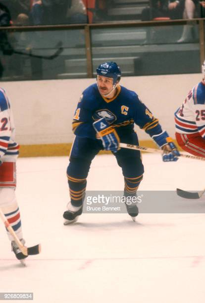 Gilbert Perreault of the Buffalo Sabres skates on the ice during an NHL game against the New York Rangers on December 22 1982 at the Madison Square...