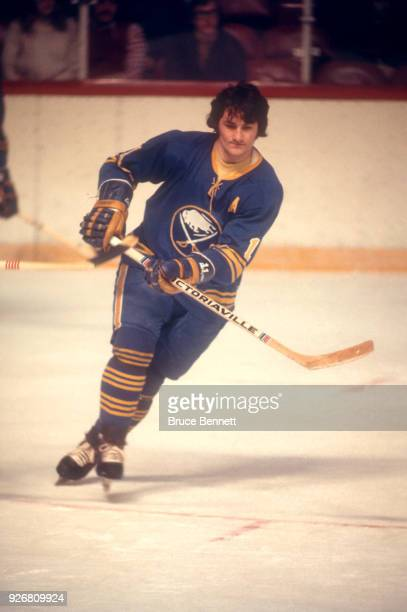 Gilbert Perreault of the Buffalo Sabres skates on the ice during an NHL game against the Philadelphia Flyers on March 2 1974 at the Spectrum in...