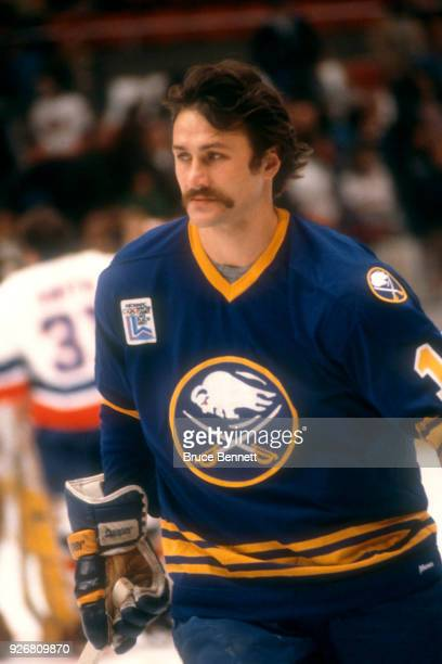 Gilbert Perreault of the Buffalo Sabres skates on the ice prior to an NHL game against the New York Islanders on October 13 1979 at the Nassau...