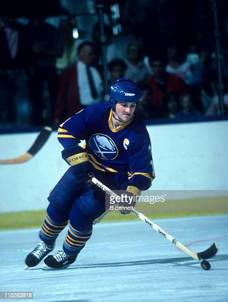 Gilbert Perreault of the Buffalo Sabres skates with the puck during an NHL game circa 1983