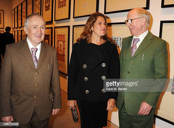 Gilbert Proesch and George Passmore with Tracey Emin attend the private view of 'The Urethra Postcard Art of Gilbert George' at the White Cube...