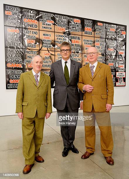 Gilbert Proesch Jay Jopling and George Passmore attend the private view of London Pictures by Gilbert and George at White Cube Gallery on March 8...
