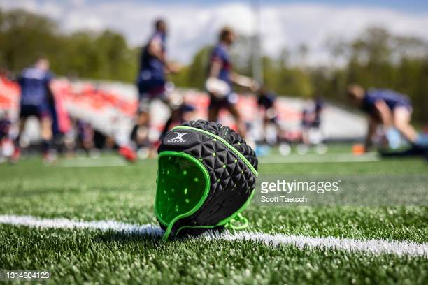 Gilbert rugby helmet is seen on the pitch before the match between Old Glory DC and the New England Free Jacks at Segra Field on April 25, 2021 in...
