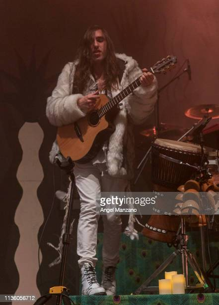 Gilbert Vierich from Crystal Fighters performs on stage at WiZink center on March 15 2019 in Madrid Spain