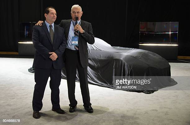 Gilbert Villarreal and Bob Lutz speak during the VLF press conference at the North American International Auto Show in Detroit Michigan January 12...