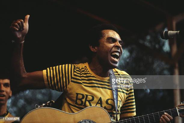 Gilberto Gil Brazilian singersongwriter and guitarist during a live concert performance circa 1982