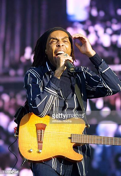 Gilberto Gil during Rock in Rio IV Day 2 at Belavista Park in Lisbon Belavista Park Portugal
