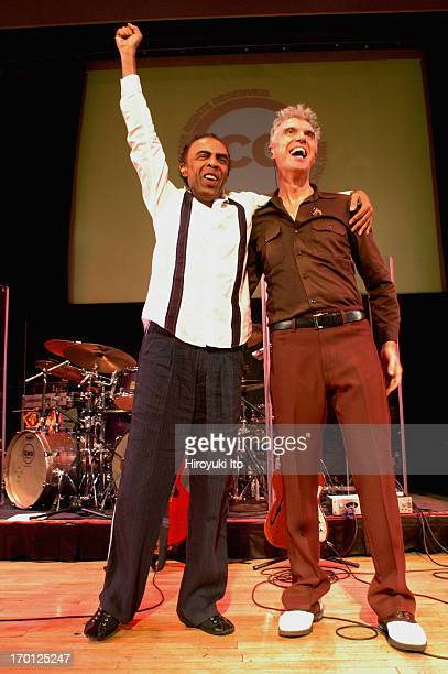 Gilberto Gil left and David Byrne performing at Town Hall on Tuesday night September 21 2004