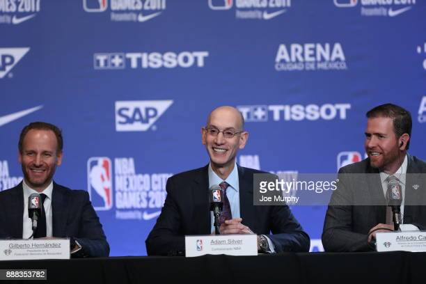 Gilberto Hernandez President of the Mexican Basketball Federation NBA Commissioner Adam Silver along with Alfredo Castillo Director of the National...