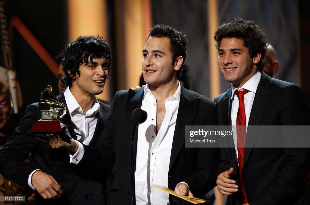 Gilberto Marin Espinoza, Jesus Alberto Navarro Rosas and Julio Ramirez Eguia of Reik speak onstage at the 10th Annual Latin Grammy Awards held at Mandalay Bay on November 5, 2009 in Las Vegas, Nevada.
