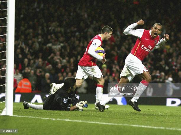 Gilberto of Arsenal celebrates his goal during the Premiership match between Arsenal and Portsmouth at the Emirates Stadium on December 16 2006 in...