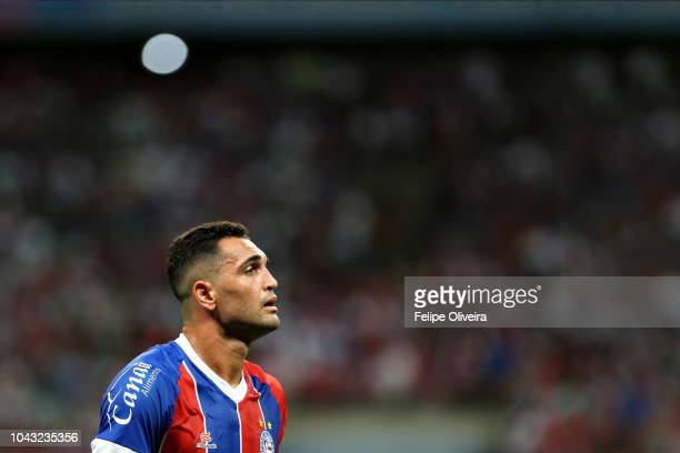Gilberto of Bahia reacts during a match between Bahia and Flamengo as part of Brasileirao Series A 2018 at Arena Fonte Nova on September 29, 2018 in...