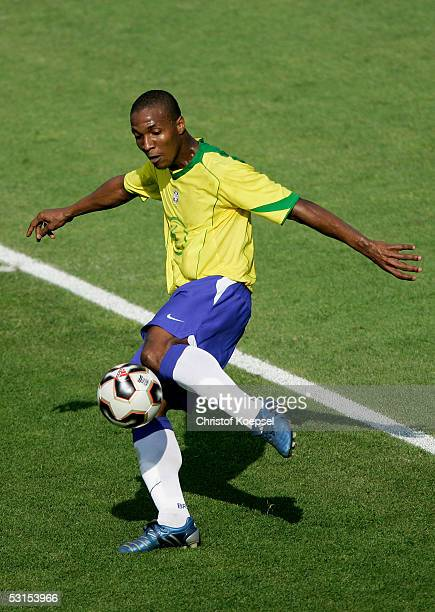 Gilberto of Brazil shots the ball during the Semi Final Match between Germany and Brazil for the FIFA Confederations Cup 2005 at the Franken Stadium...